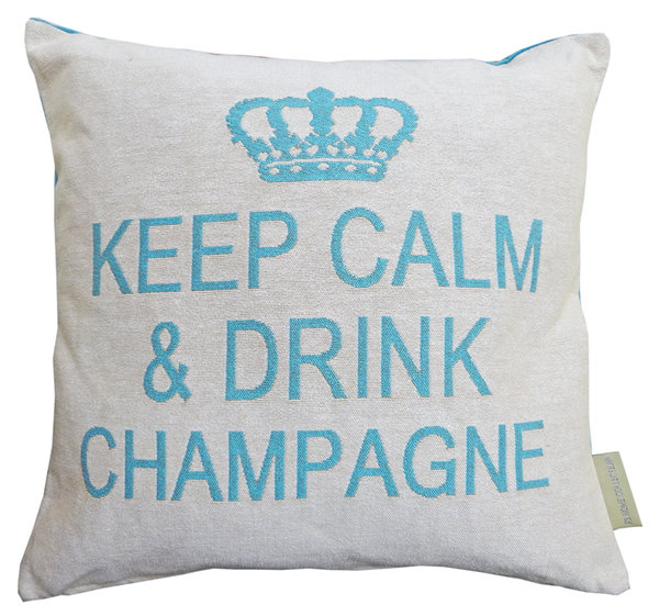Keep calm & drink champagne cushion cover (Champagne/Turquoise) - arrives again in the fall