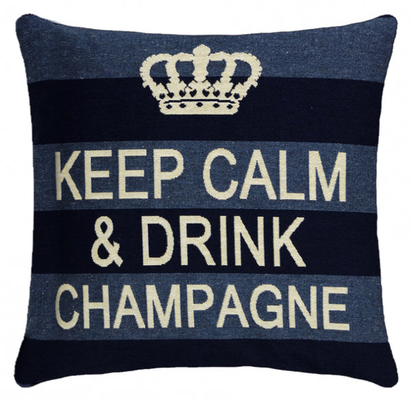 Keep calm & drink champagne cushion cover blue striped