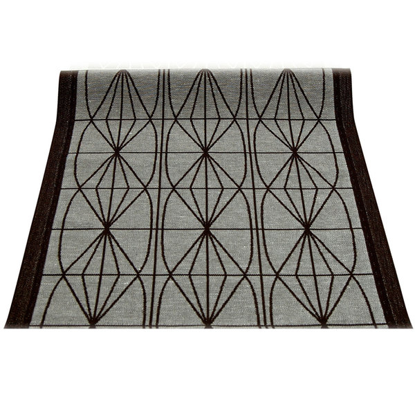 Linen table runner in black and grey
