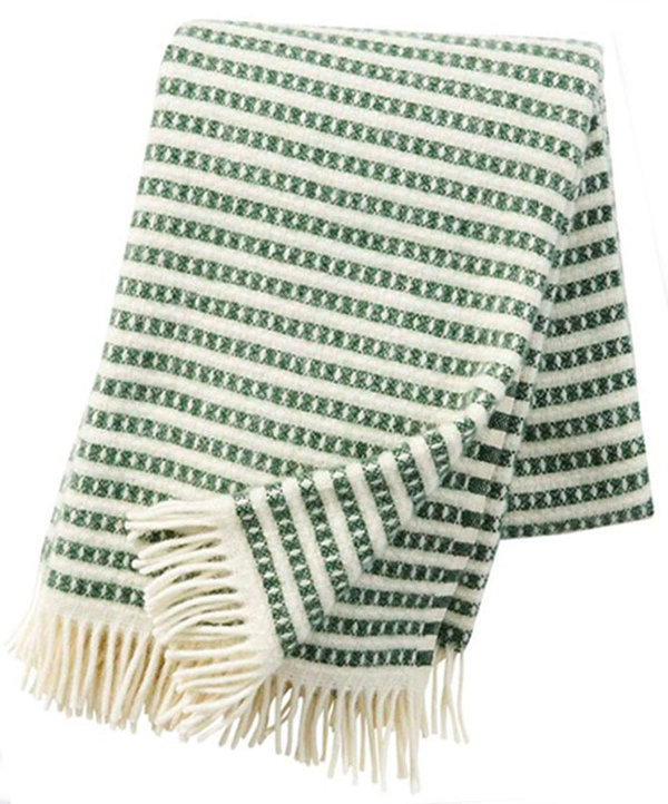 Green striped blanket in ecological Lambswool