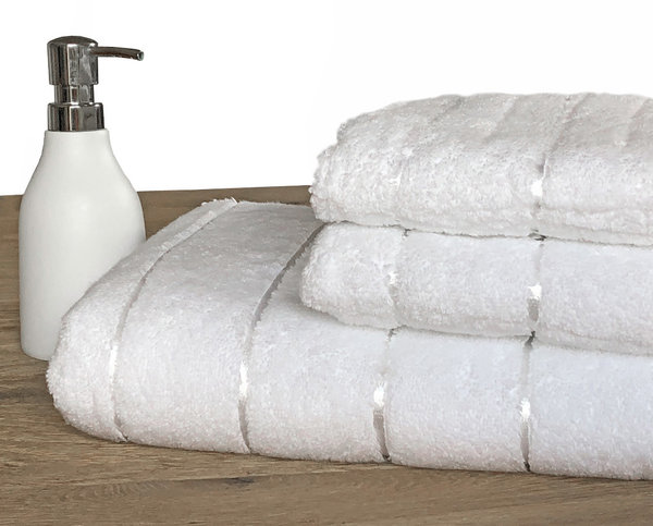 Premium bathroom towels in pure white