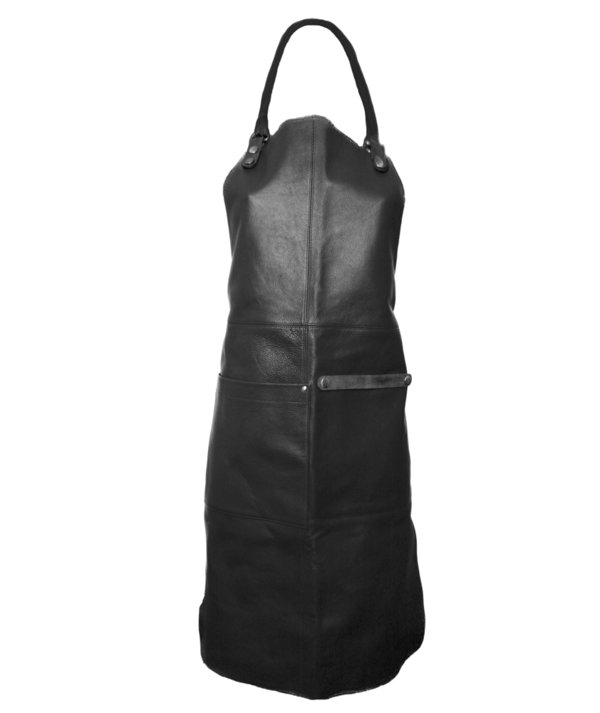 Black apron in soft genuine soft leather