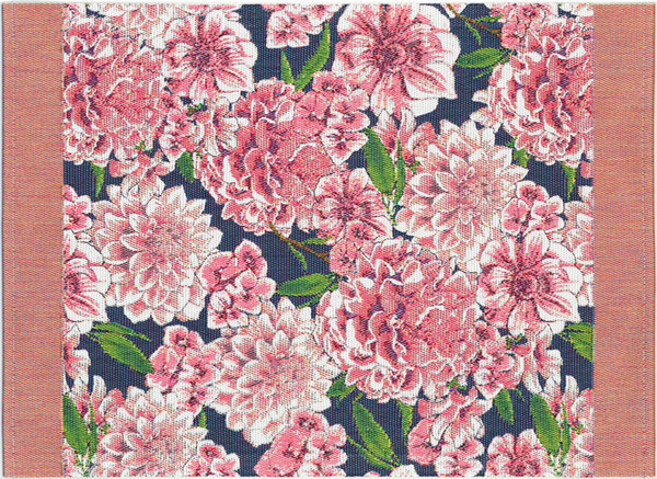 Placemat or table cloth with pink dahlia flowers