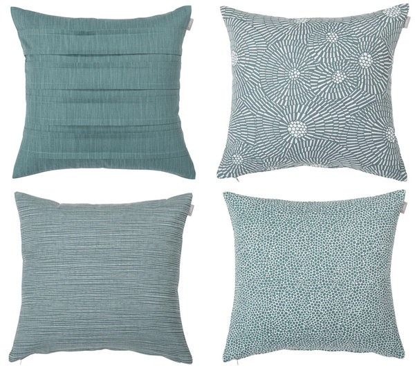 Set of 4 matching cushion covers in smokey blue-green