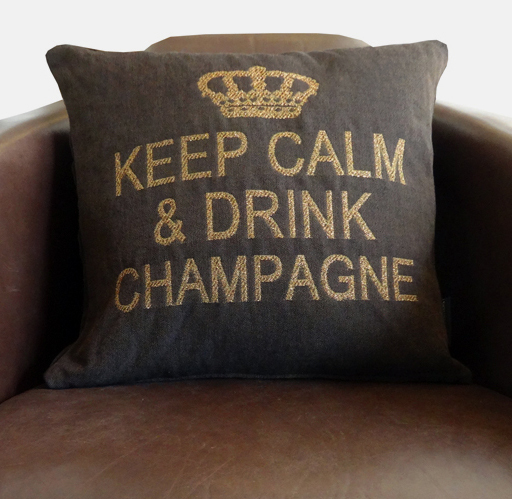 Keep calm & drink champagne cushion cover (brown/bronze)