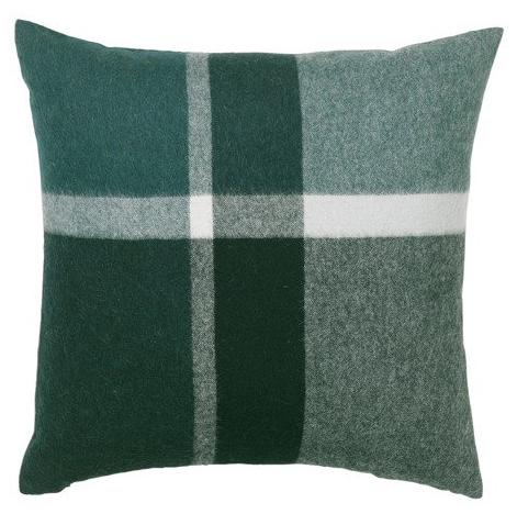 Elegant cushion cover in luxurious alpaca wool in evergreen
