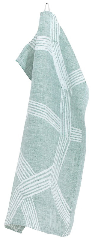 High-quality kitchen towel in green linen -Himmeli green