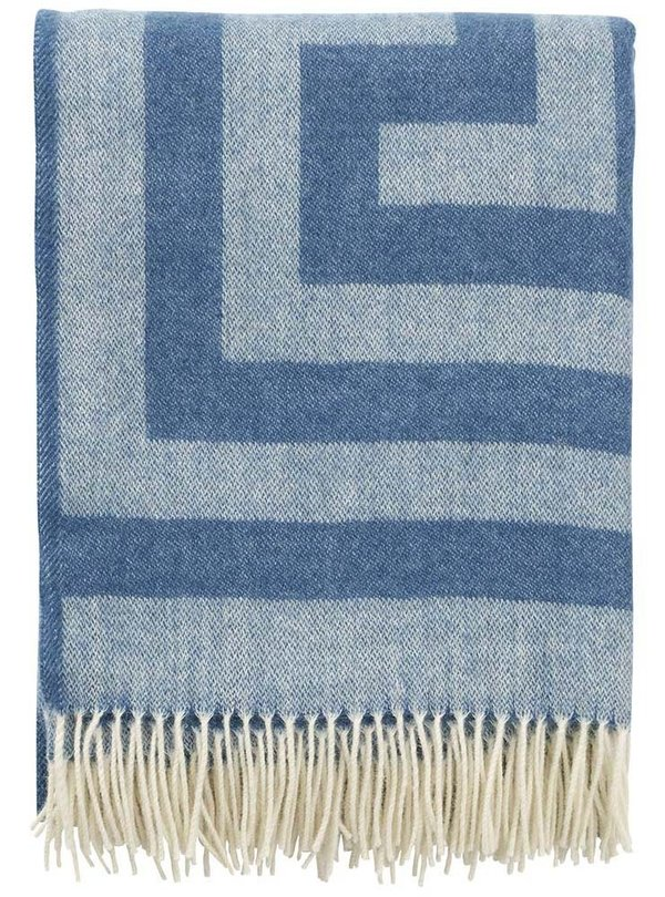 Premium blue throw in merino and lambswool