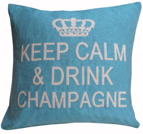 Keep calm & drink champagne cushion cover (Turquoise/Champagne)