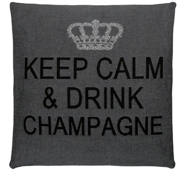 Keep calm & drink champagne cushion cover (Anthracite/Silver/Black)