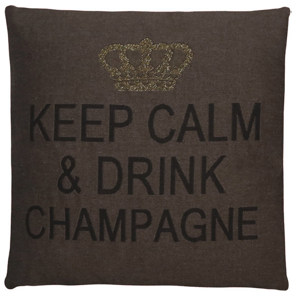 Keep calm & drink champagne cushion cover (brown)