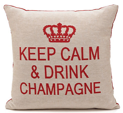 Keep calm & drink champagne cushion cover (champagne/red)