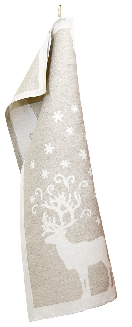 Linen kitchen towel with reindeers