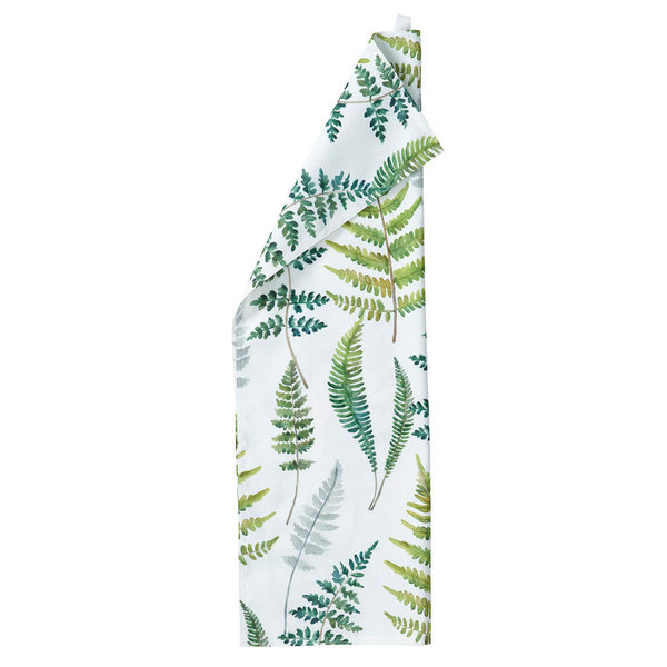 Kitchen towel with printed fern pattern in green and white