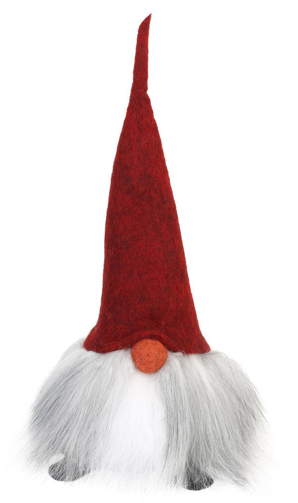 Handmade Gnome with red cap and straight beard: Valter 35 cm high