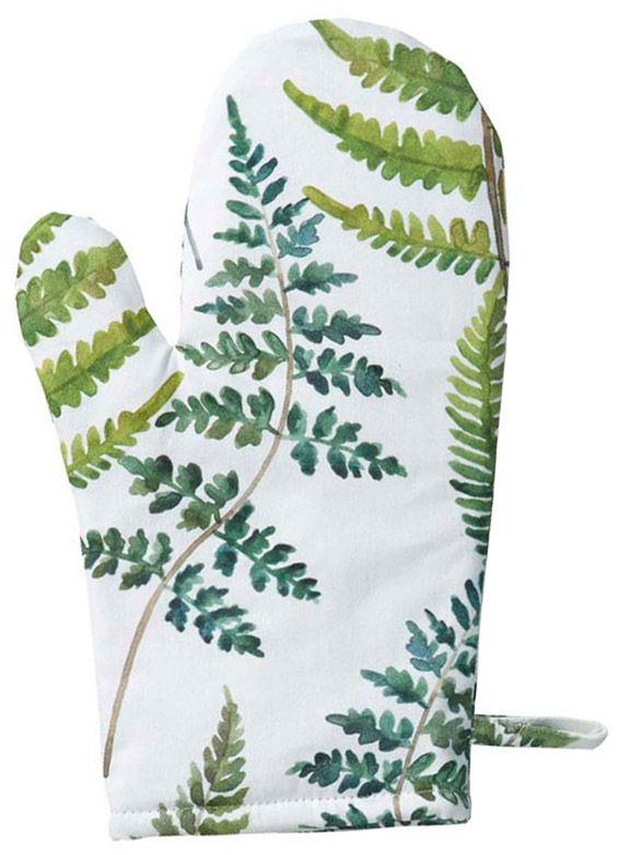 Oven glove with a printed fern pattern