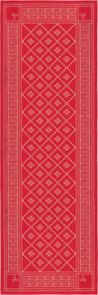 Red table runner in an old classic norwegian pattern Jacquard design