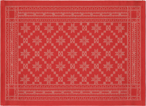 Placemat or table cloth in an old red norwegian pattern