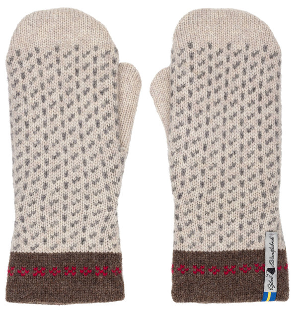 Very warm mittens in merino wool, Skaftö Snow